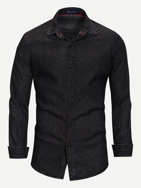 Купить Мужская однотонная джинсовая футболка в клетку, null, SheIn