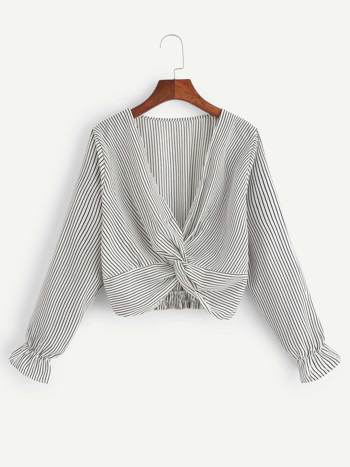 Купить Полосатая блуза с низким V-образным вырезом, null, SheIn
