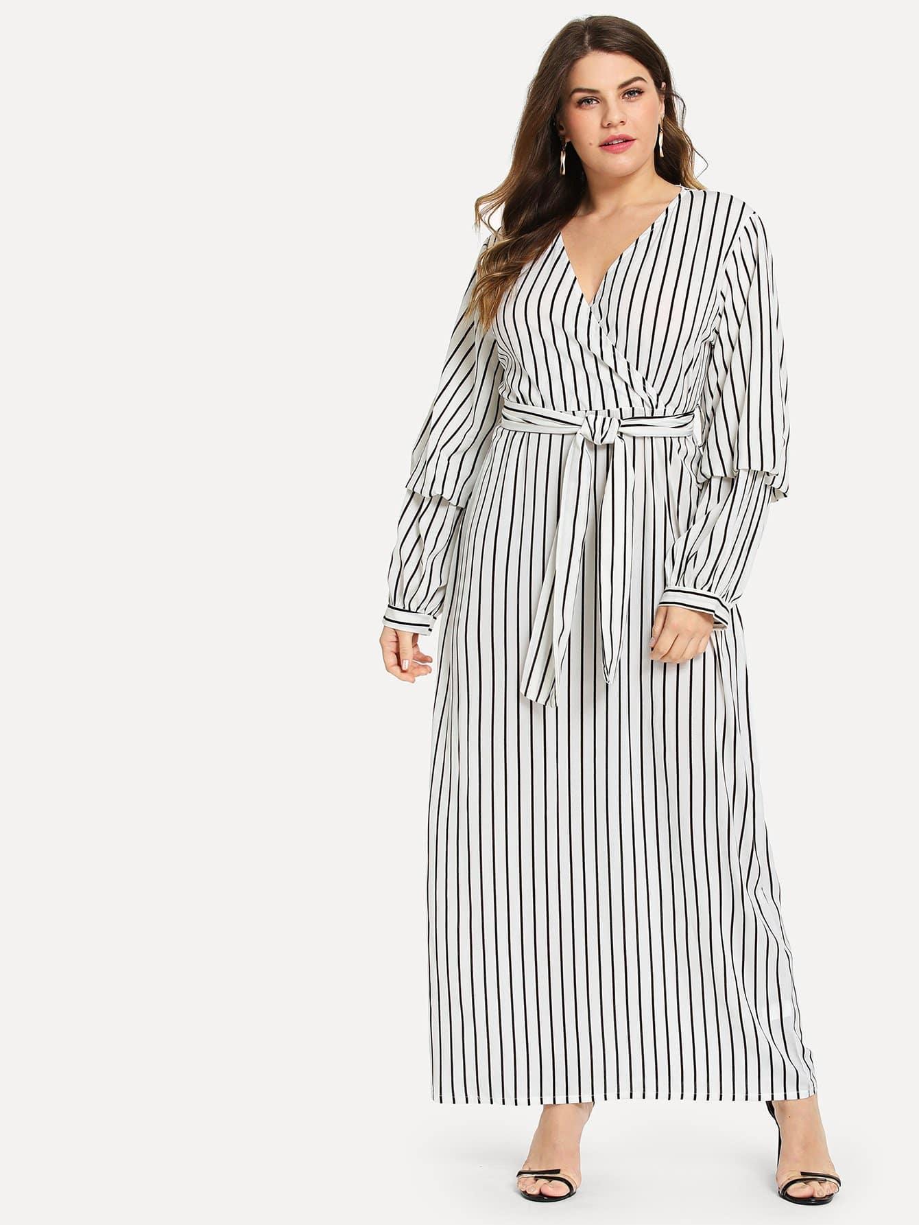 Купить Размера плюс полосатое платье с поясом и V-образным вырезом, Isabela, SheIn