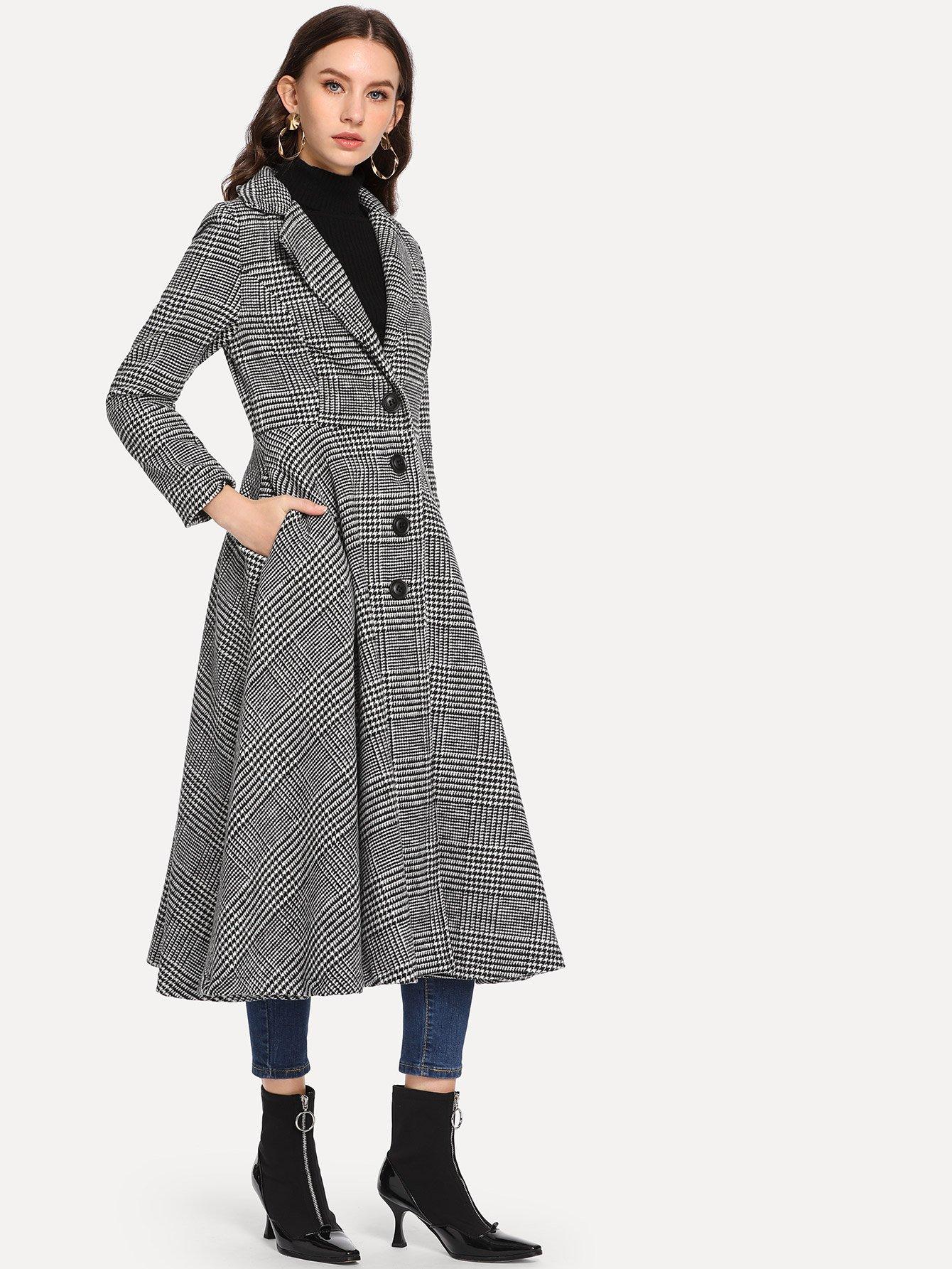 Однобортное пальто в клетку SheIn