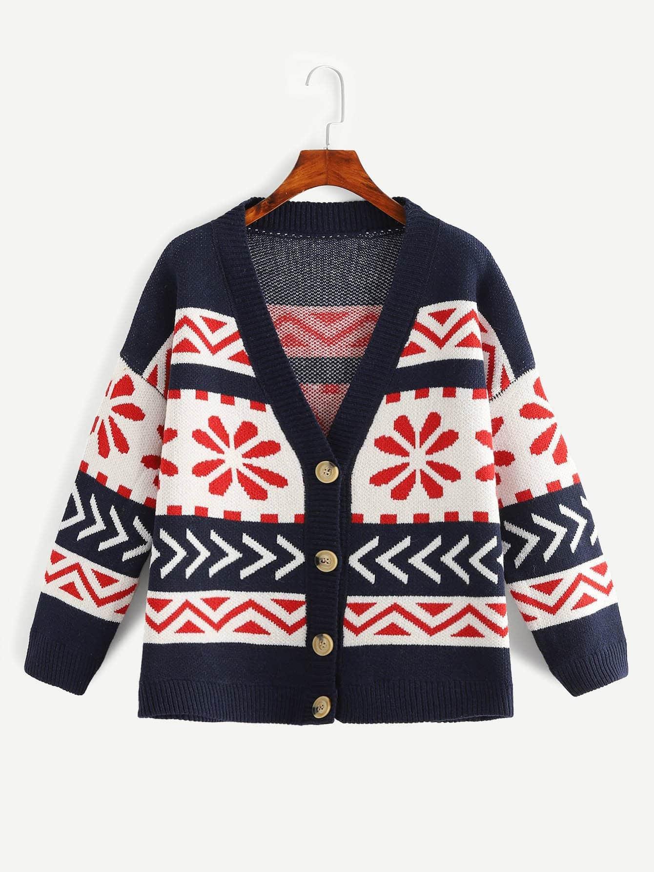 Купить Размера плюс однобортное вязаное пальто с принтом геометрической фигуры, null, SheIn