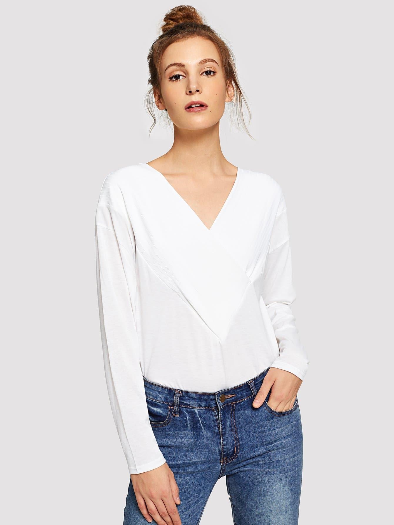 Купить Однотонная футболка с V-образным вырезом, Galina, SheIn