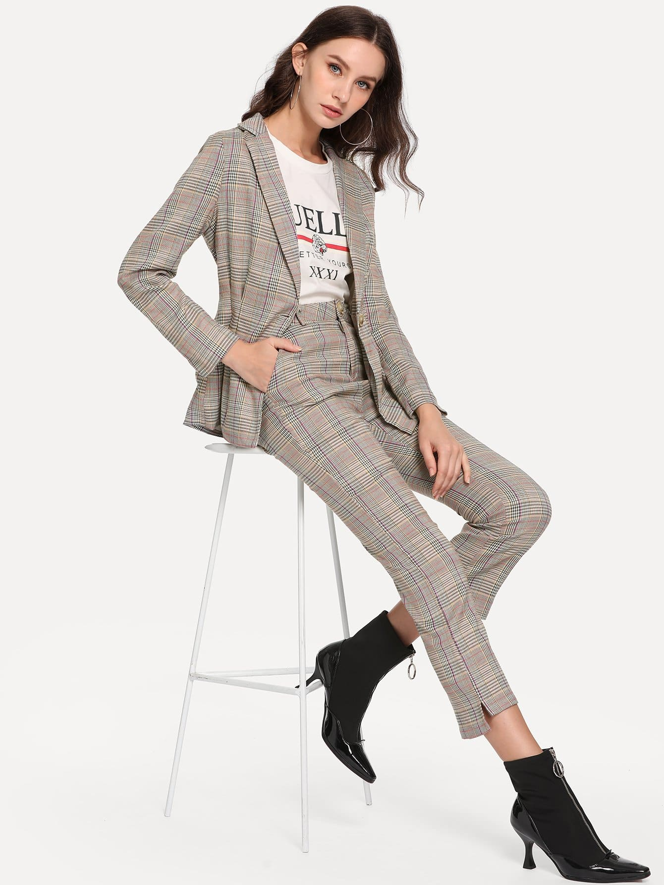 Фото - Однобортное пальто в клетку и брюки от SheIn цвет многоцветный