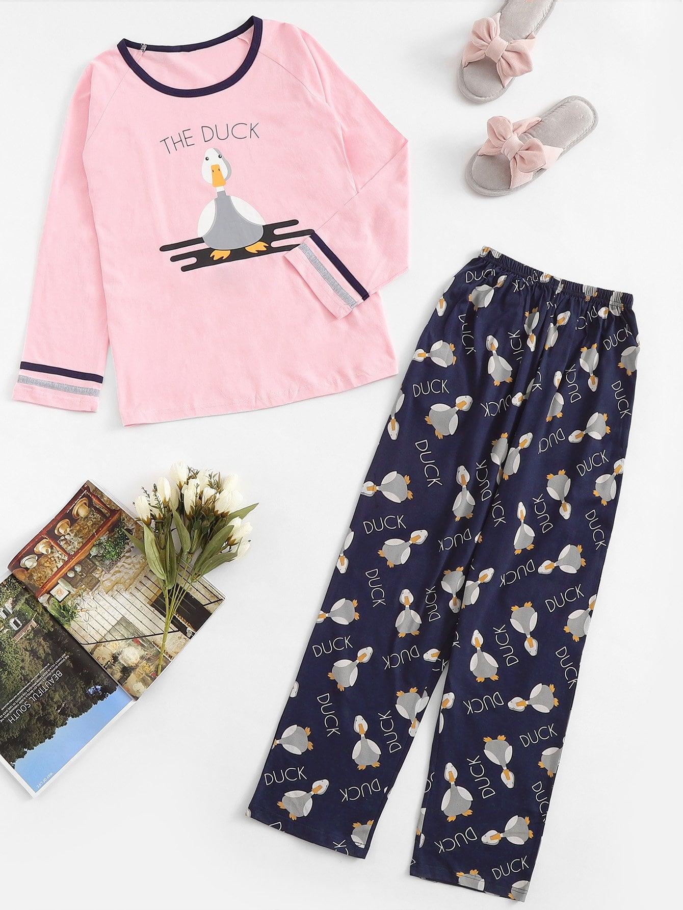 Купить Рождествеская пижама с принтом текстовым и утки, null, SheIn