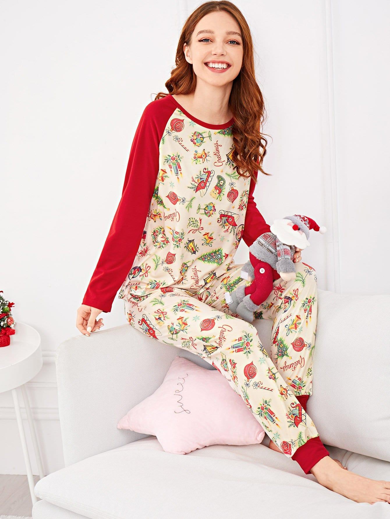 Купить Рождествеская контрастная пижама с принтом мультяшным, Poly, SheIn