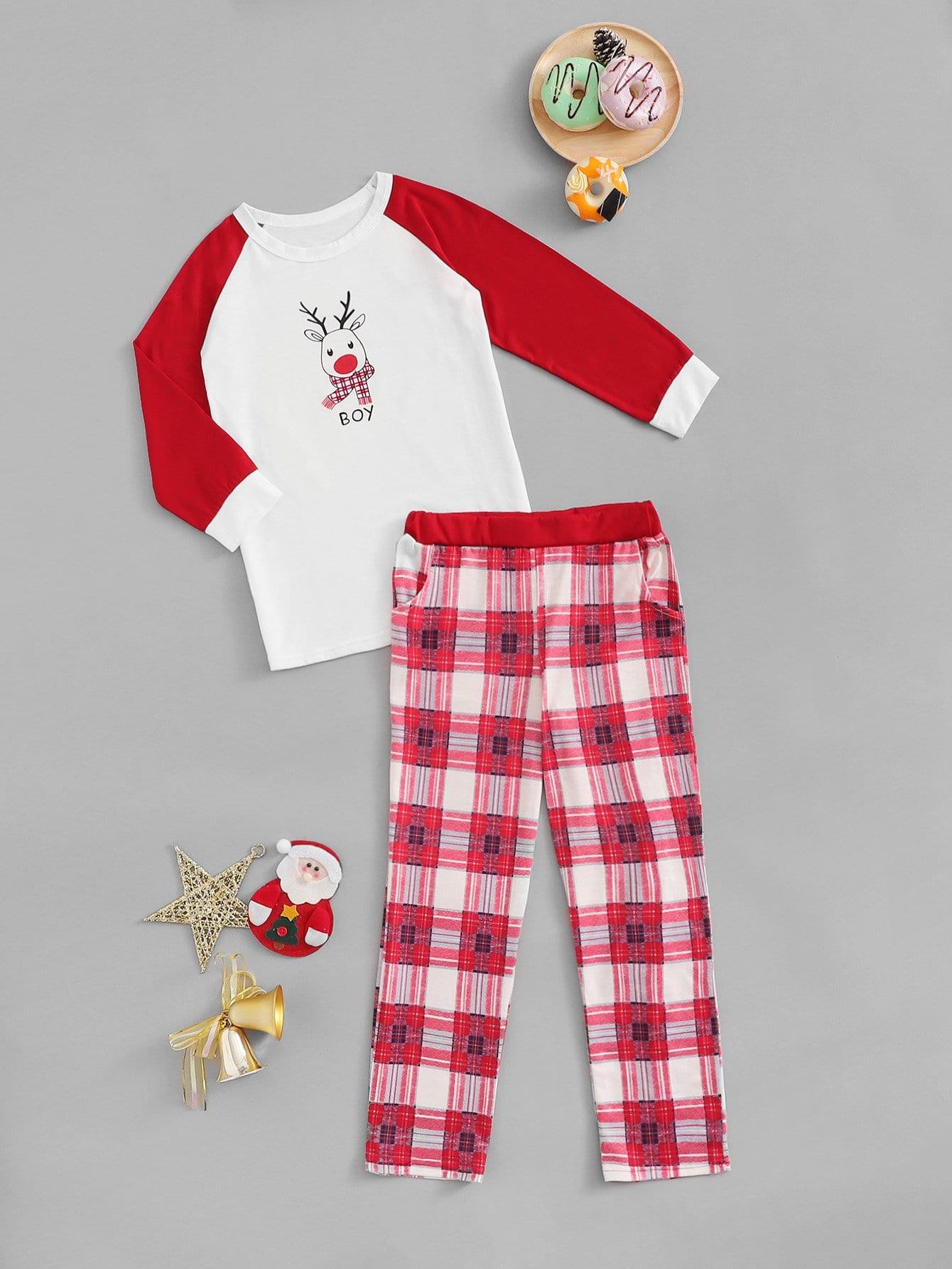 Купить Рождествеские блуза с принтом оленя и брюки в клетку для мальчиков, null, SheIn