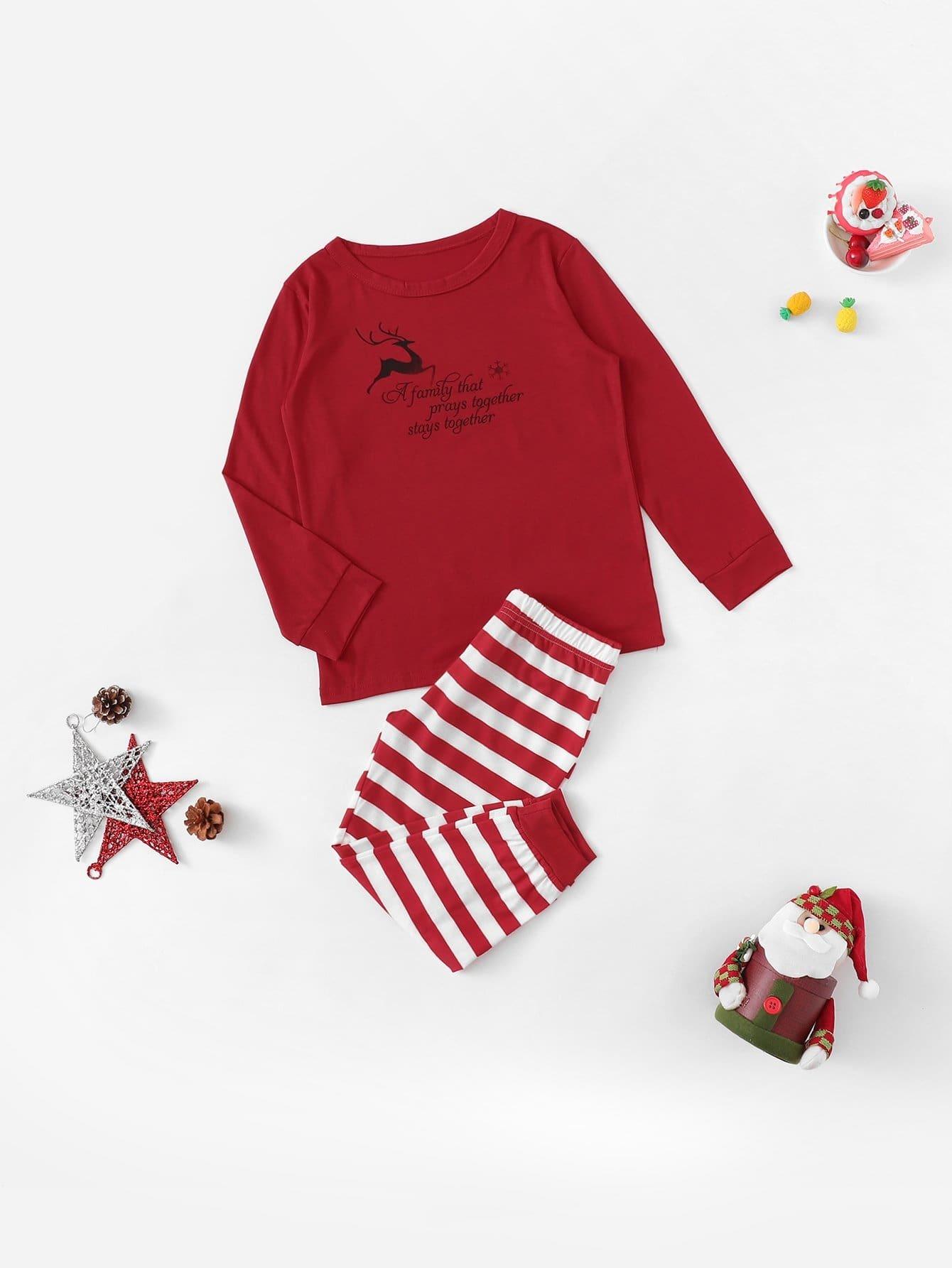 Купить Рождествеские блуза с принтом оленя и полосатые брюки для детей, null, SheIn
