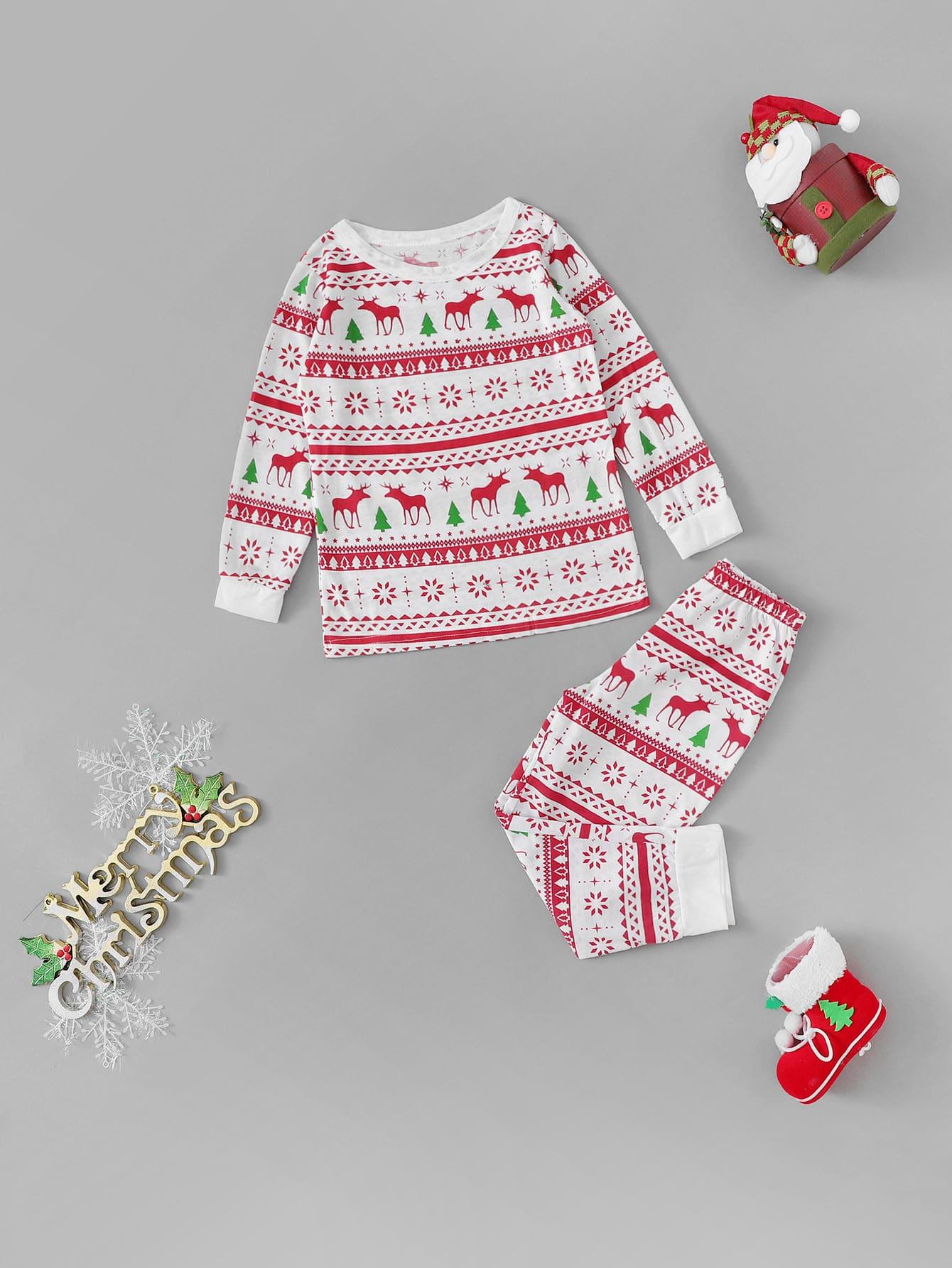Купить Рождествеская пижама с принтом оленя и геометрической фигуры для детей, null, SheIn