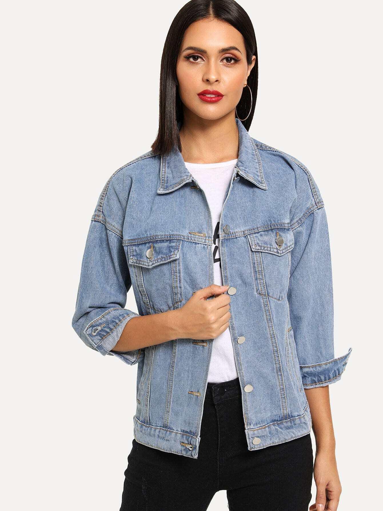 Купить Рваная джинсовая ветровка, Vero, SheIn