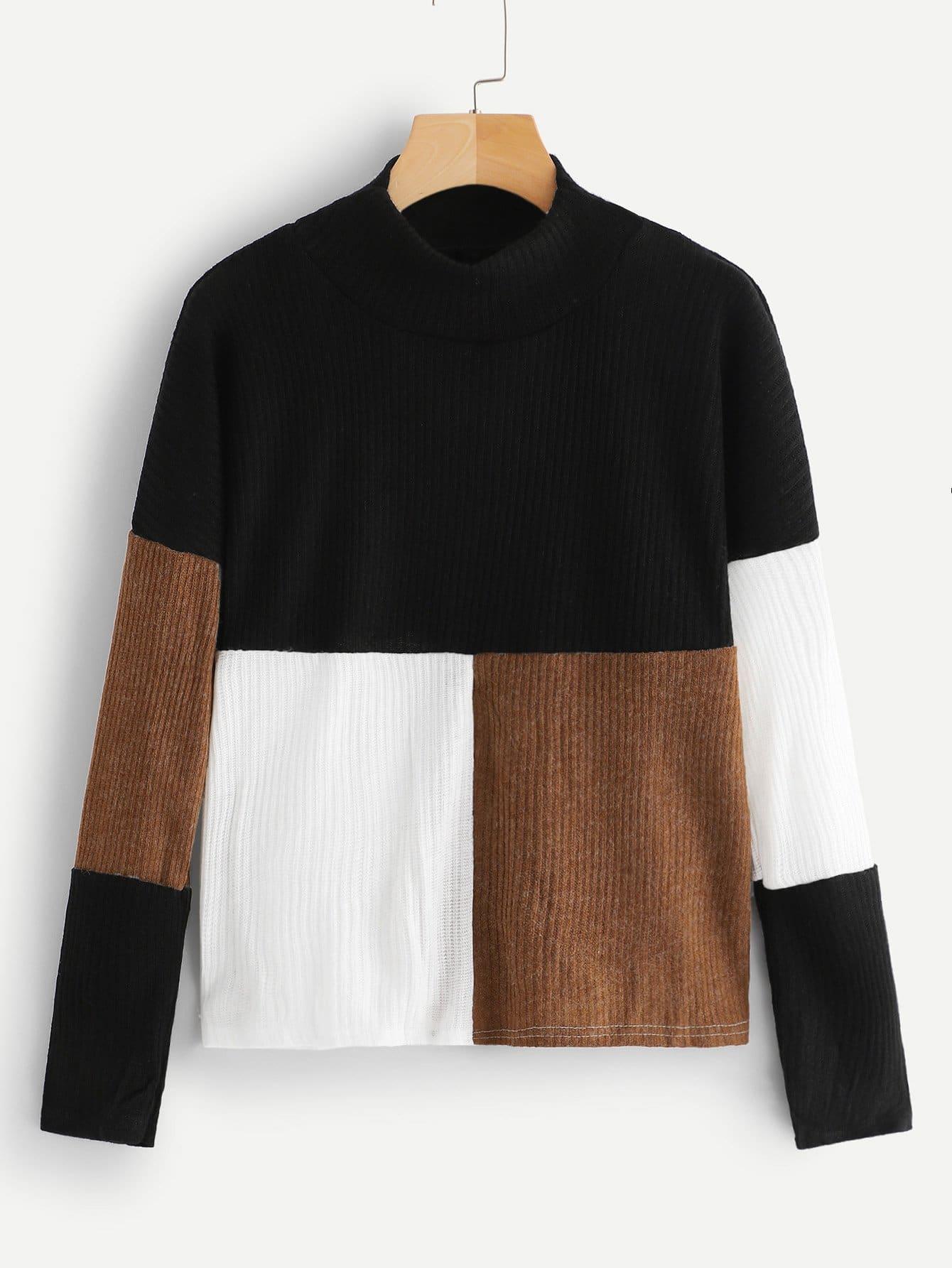 Купить Контрастный свитер со стоячим воротником, null, SheIn