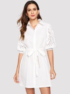 Lantern Sleeve Embroidered Eyelet Shirt Dress
