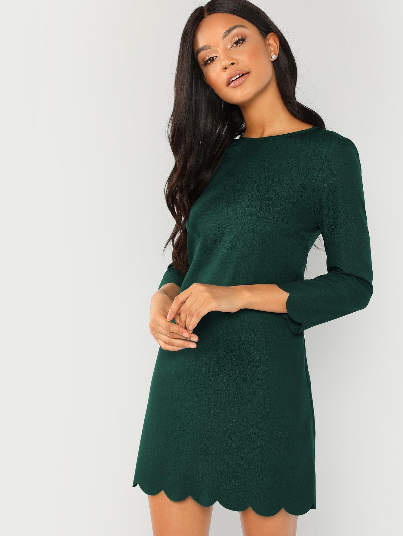 Фото - Тунику платье с веерообразной отделкой от SheIn цвет зелёные
