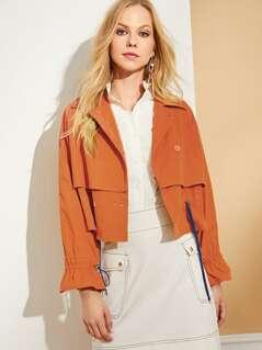 Drawstring Detail Double Layer Jacket