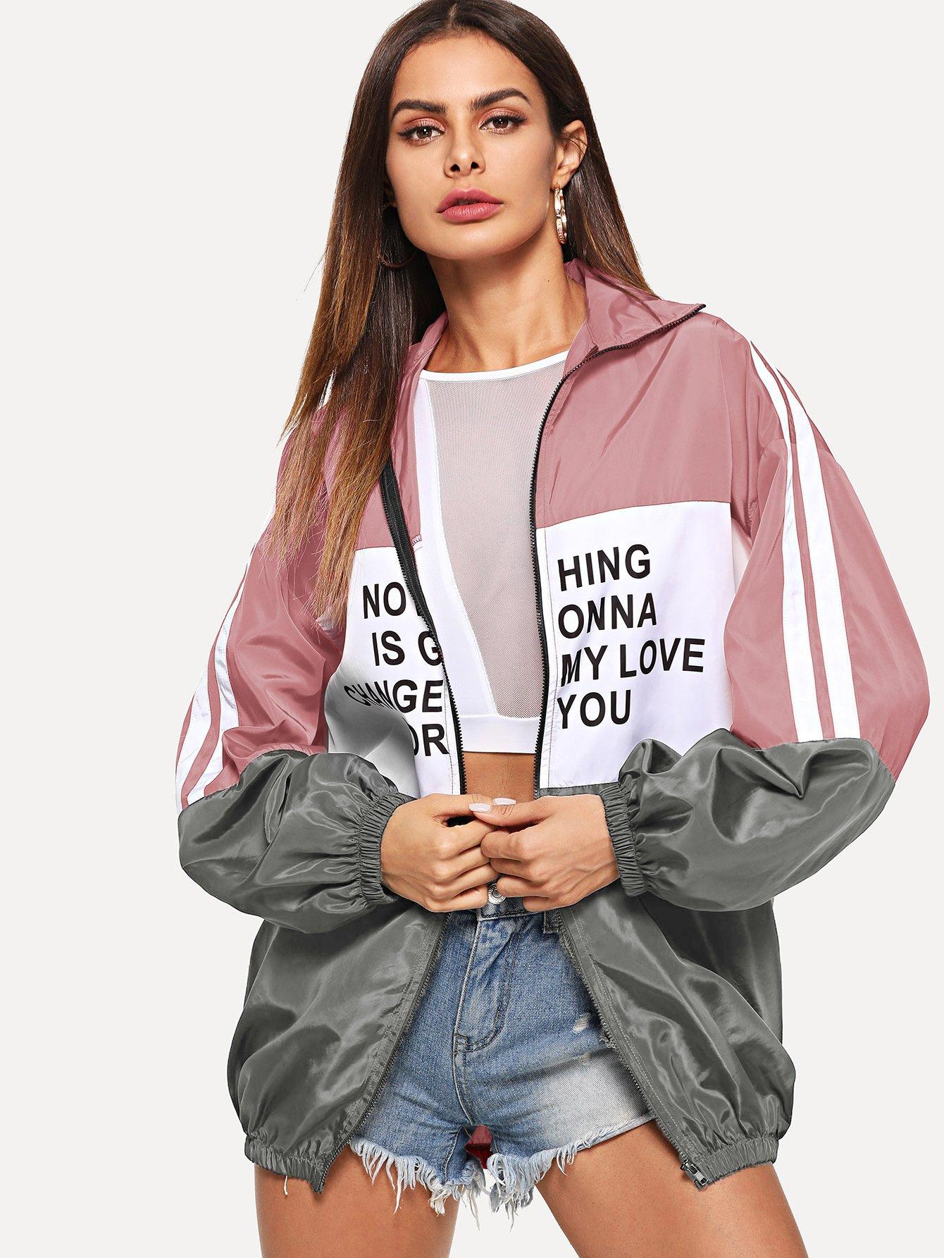 Купить Контрастная куртка с текстовым принтом на молнии, Andy, SheIn