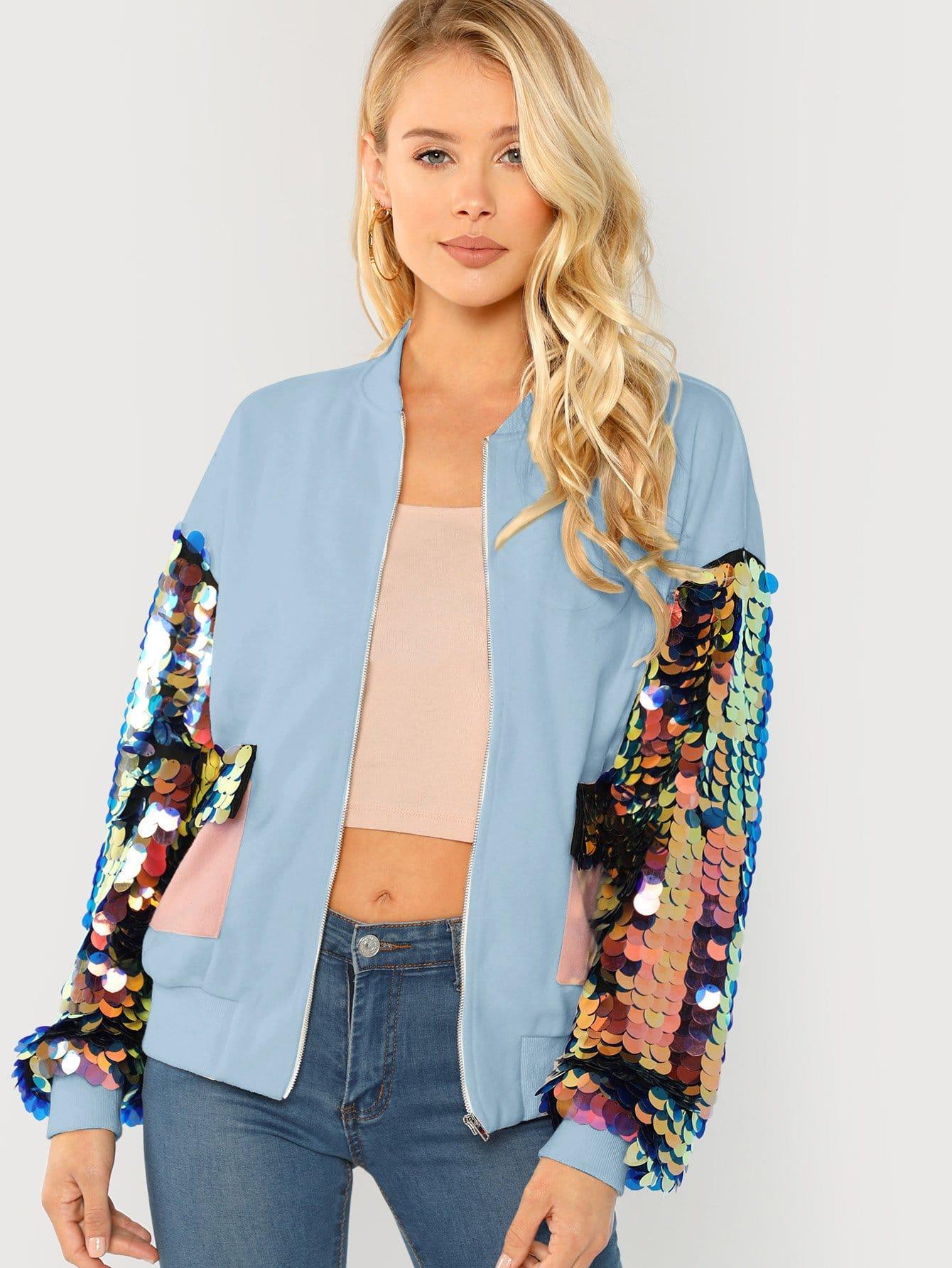Фото - Куртку с контрастным рукавом с блестками от SheIn синего цвета