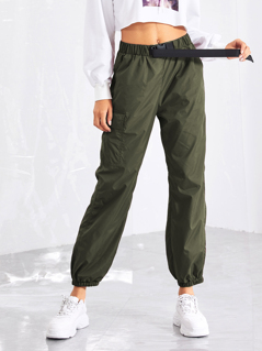 Pocket Side Drawstring Waist Pants