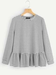 Striped Flounce Trim Tee