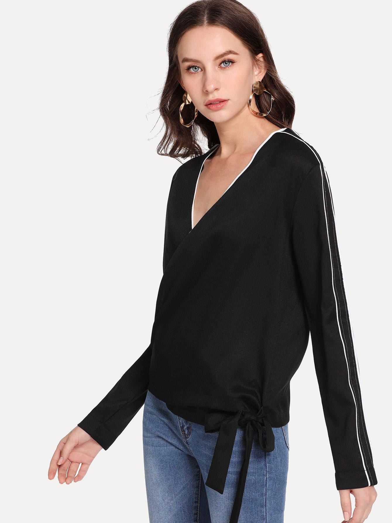 Купить Блузка с v-образным вырезом с узлом сбоку, Kate B, SheIn