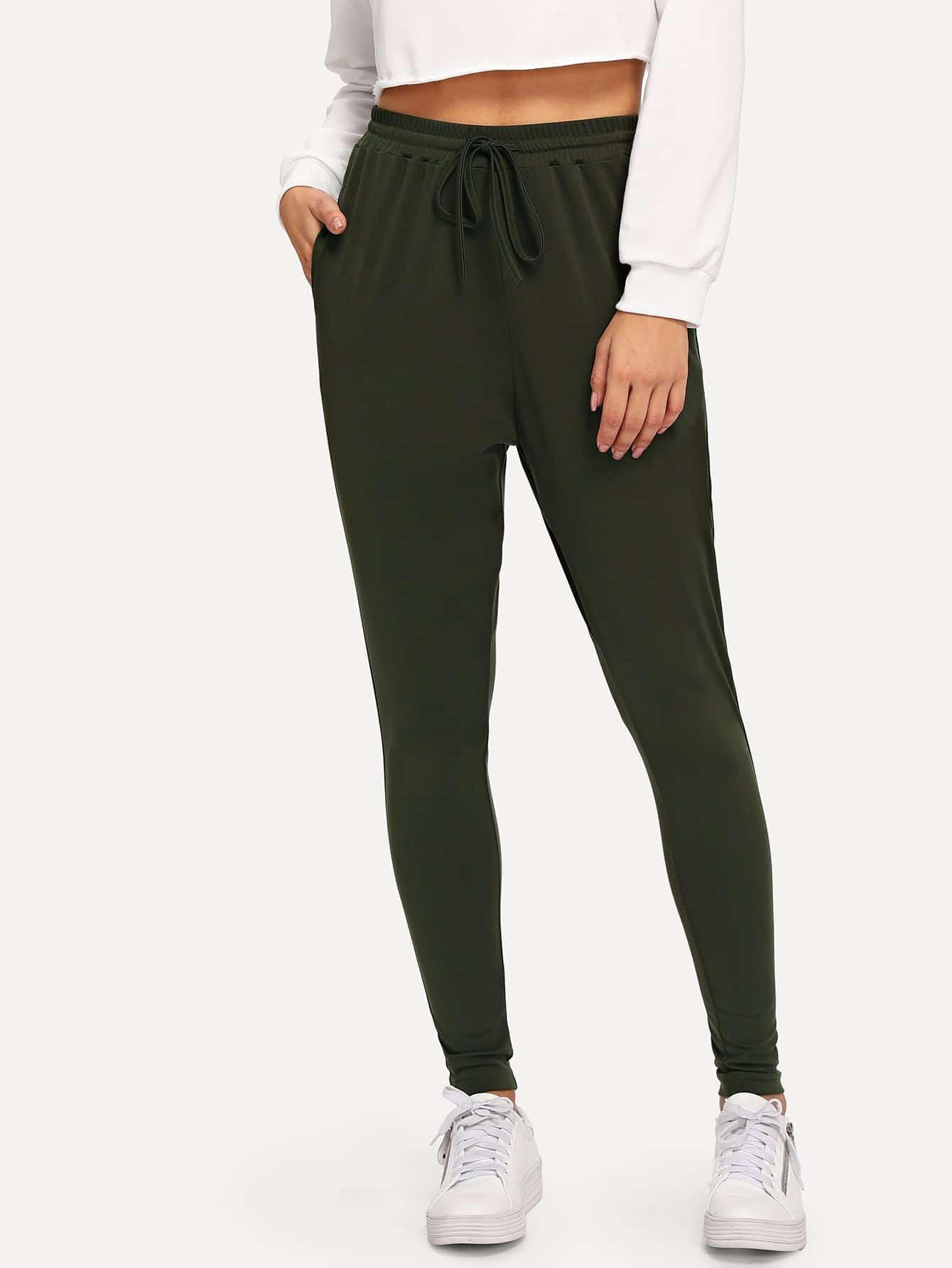 Купить Твердые облегающие брюки с эластичной талией, Gabe, SheIn