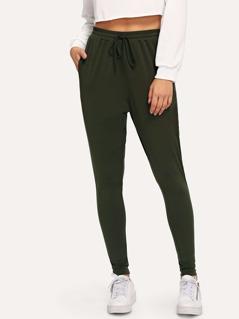 Waist Elastic Solid Skinny Pants