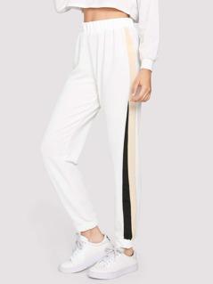 Contrast Tape Side Elastic Waist Pants
