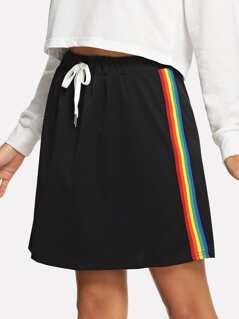 Elastic Waist Drawstring Skirt