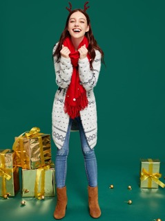 Christmas Pocket Front Fuzzy Hooded Cardigan