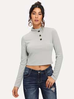 Button Front High Neck Solid Tee