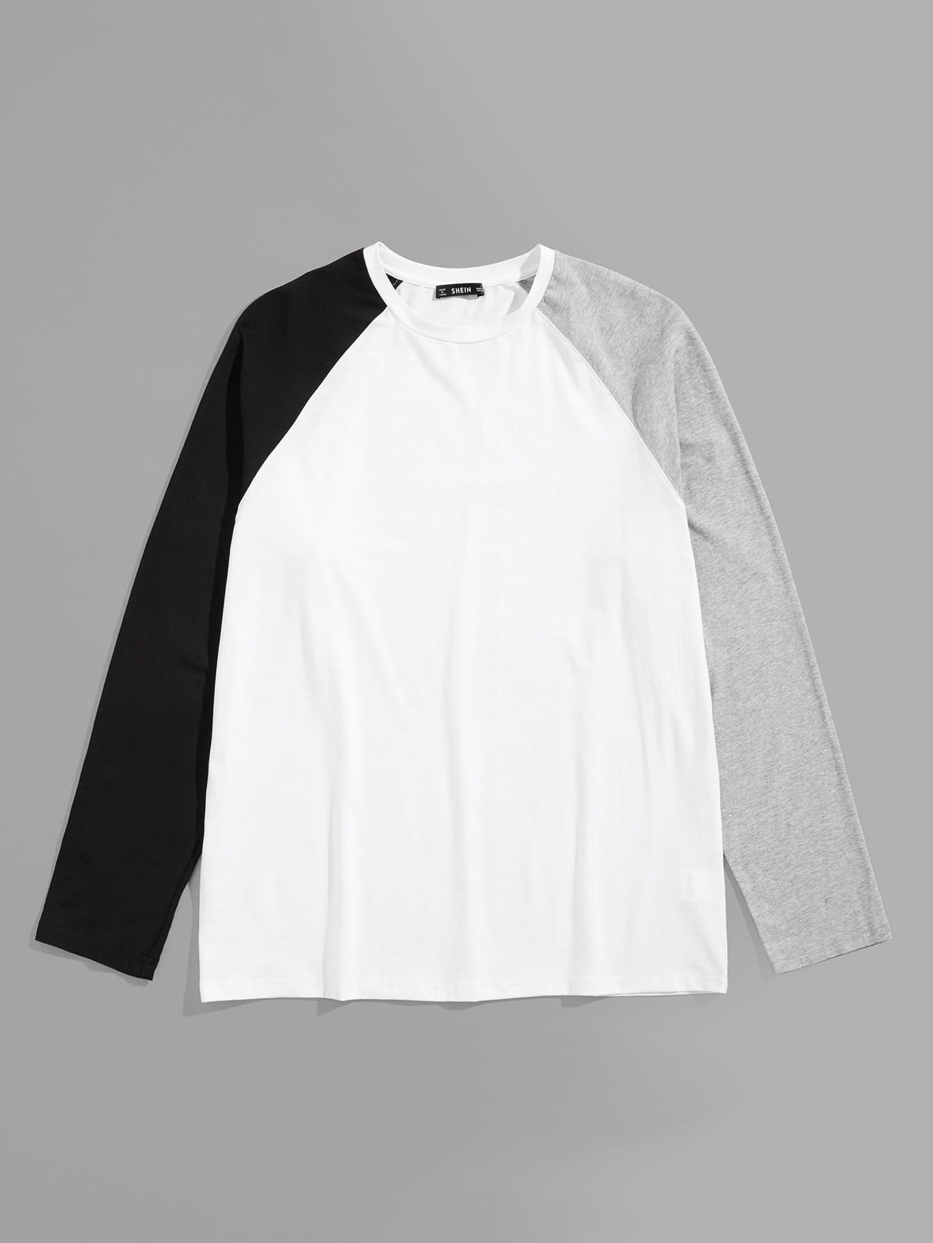 Купить Для мужчин контрастная футболка с регланом-рукавом, null, SheIn