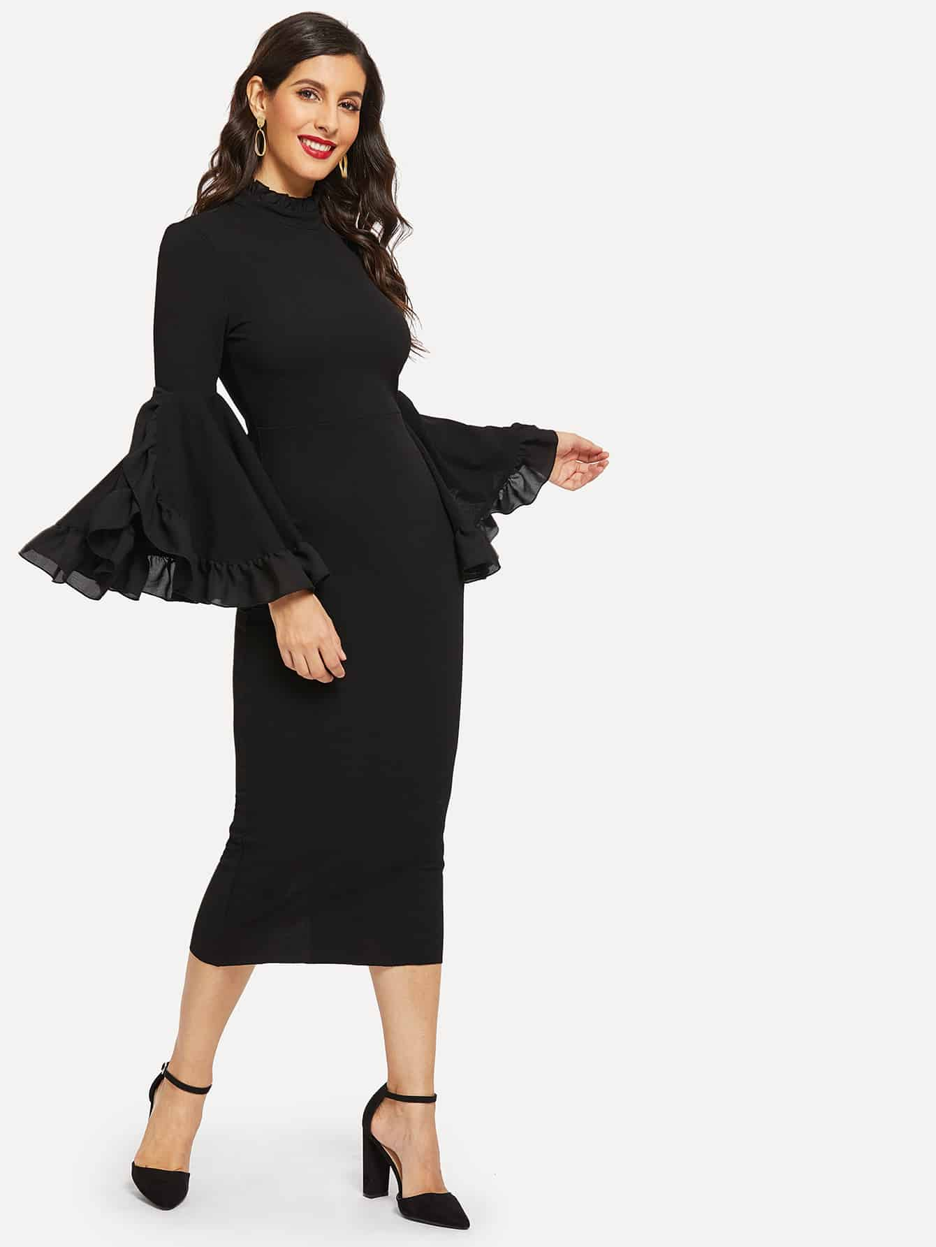 Фото - Разрезное платье-карандаш с оборками на рукавах от SheIn цвет чёрные