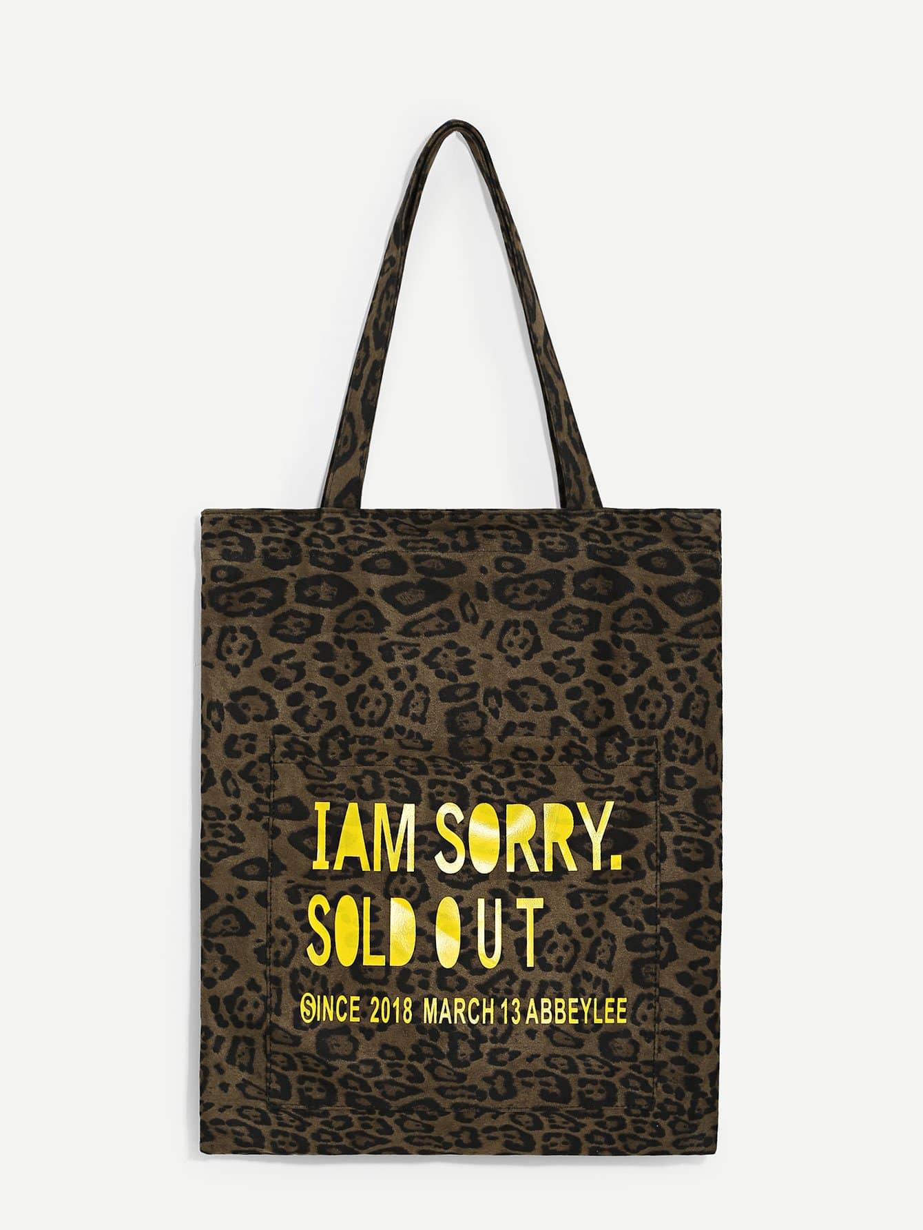 Фото - Леопардовая утеплённая сумка с принтом лозунгов от SheIn цвет многоцветный