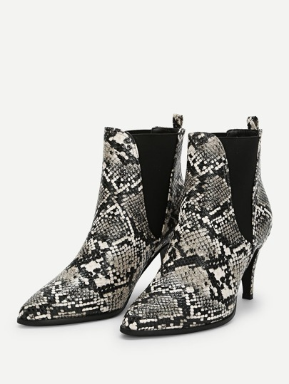 SheIn / Snakeskin Print Pointed Toe Boots