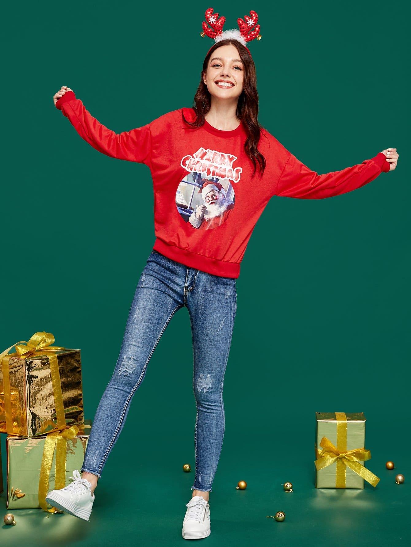 Купить Свитшот с заниженной линией плеч и принтом рождественским, null, SheIn