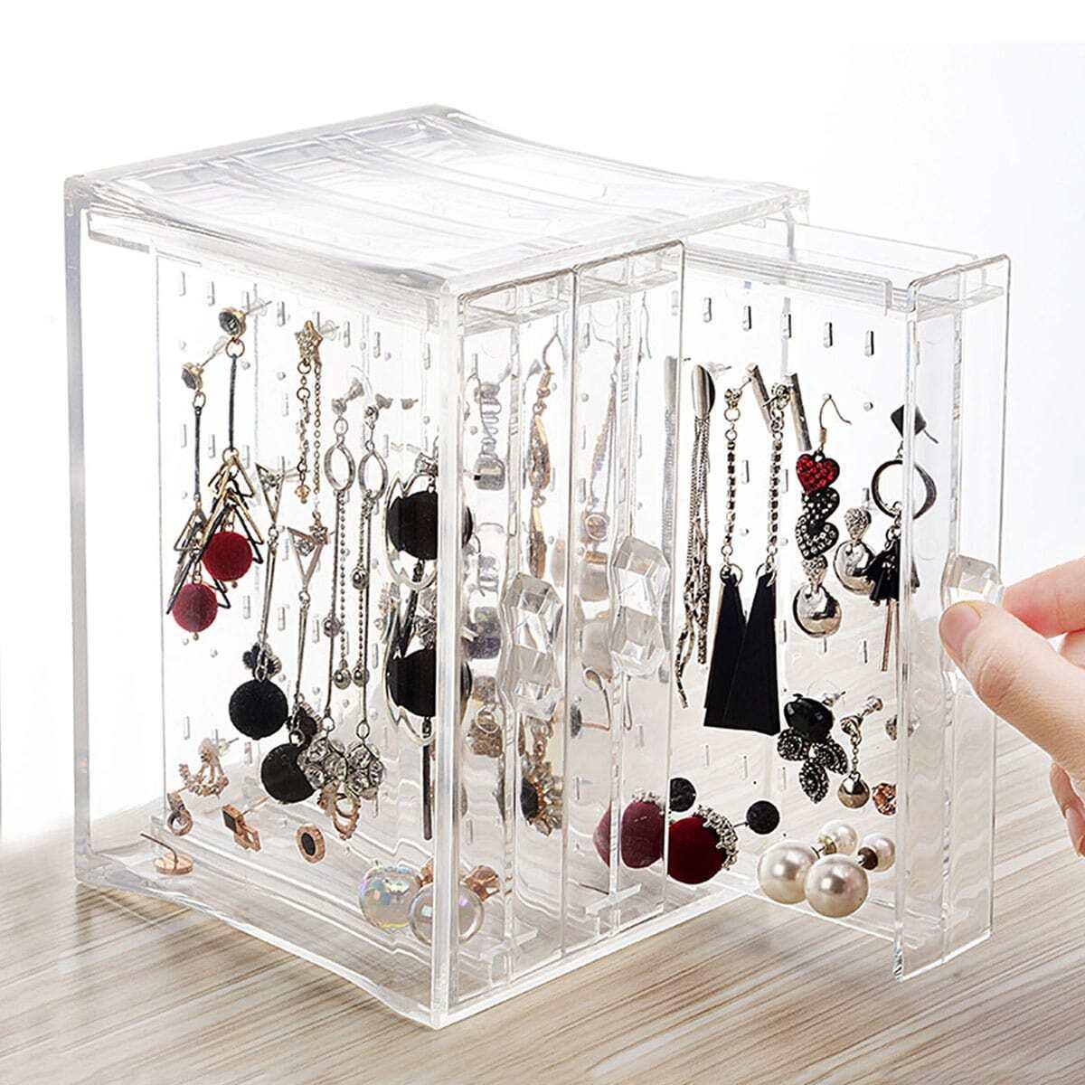 3drawers Clear Jewelry Storage Box