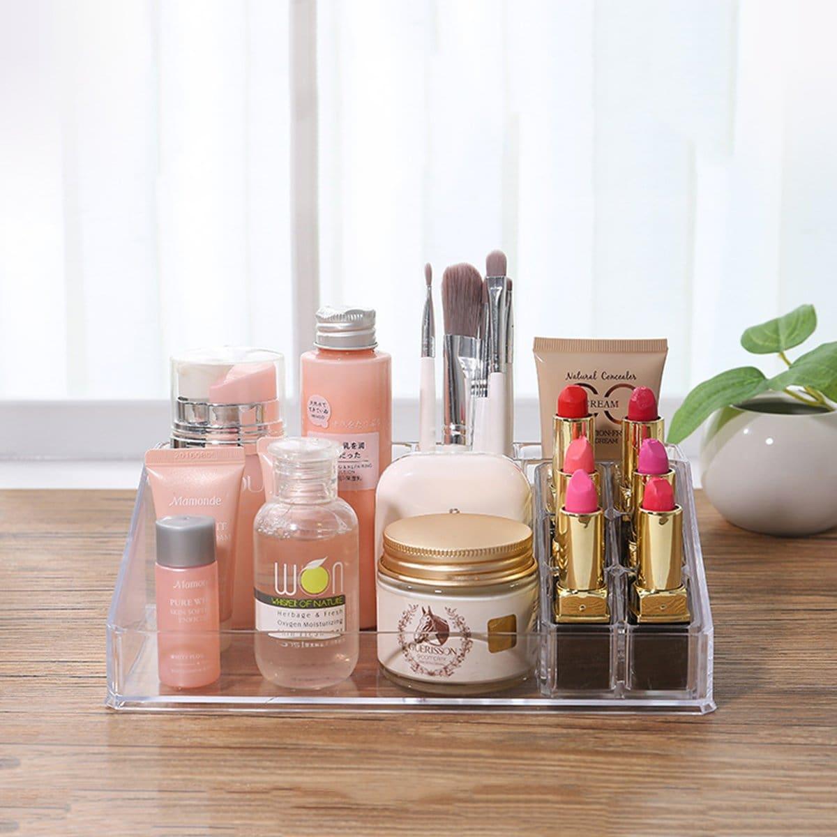 Transparant cosmetisch opbergrek met meerdere rasters