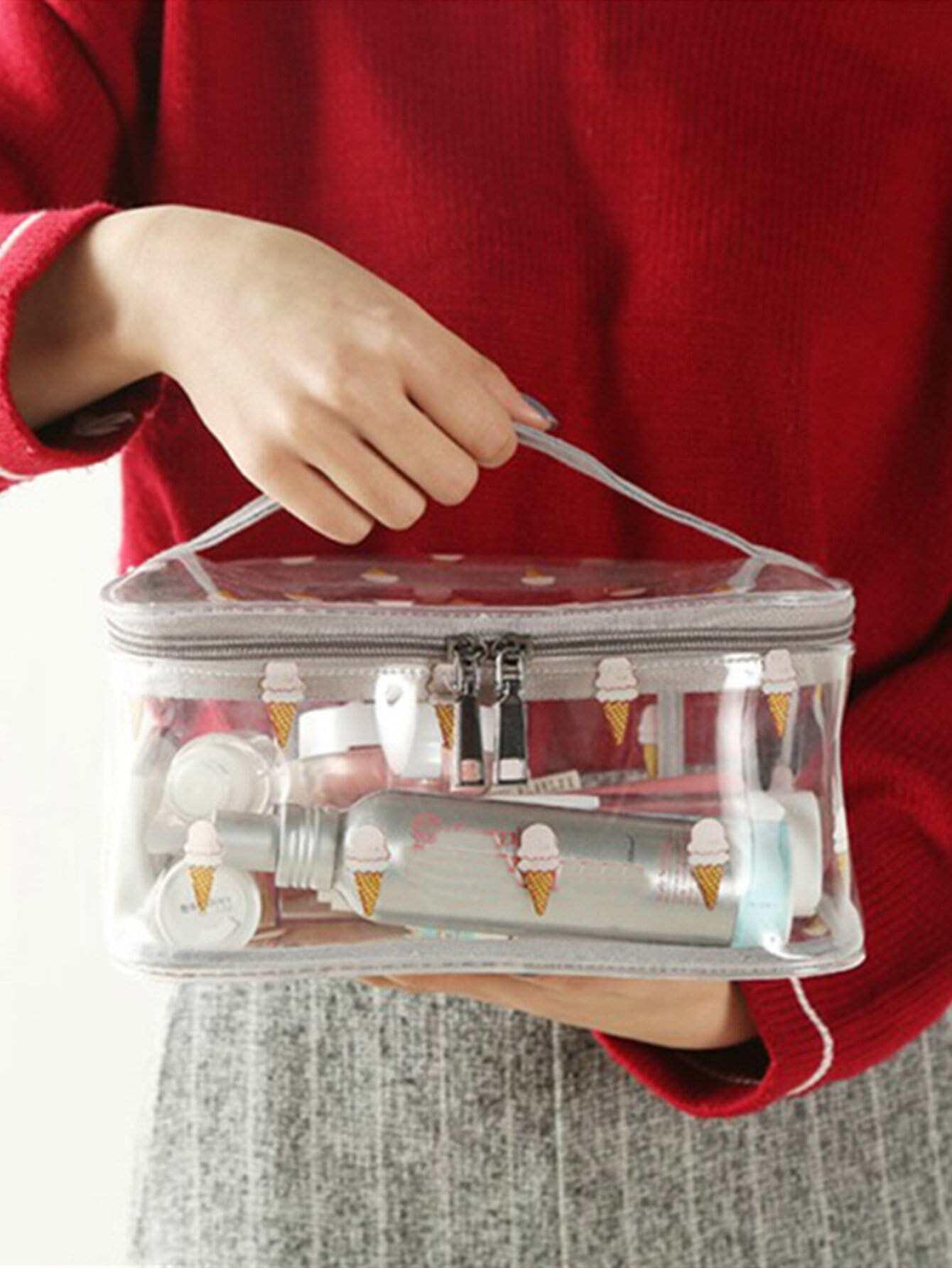 Купить Косметический ящик для хранения с принтом мороженое, null, SheIn