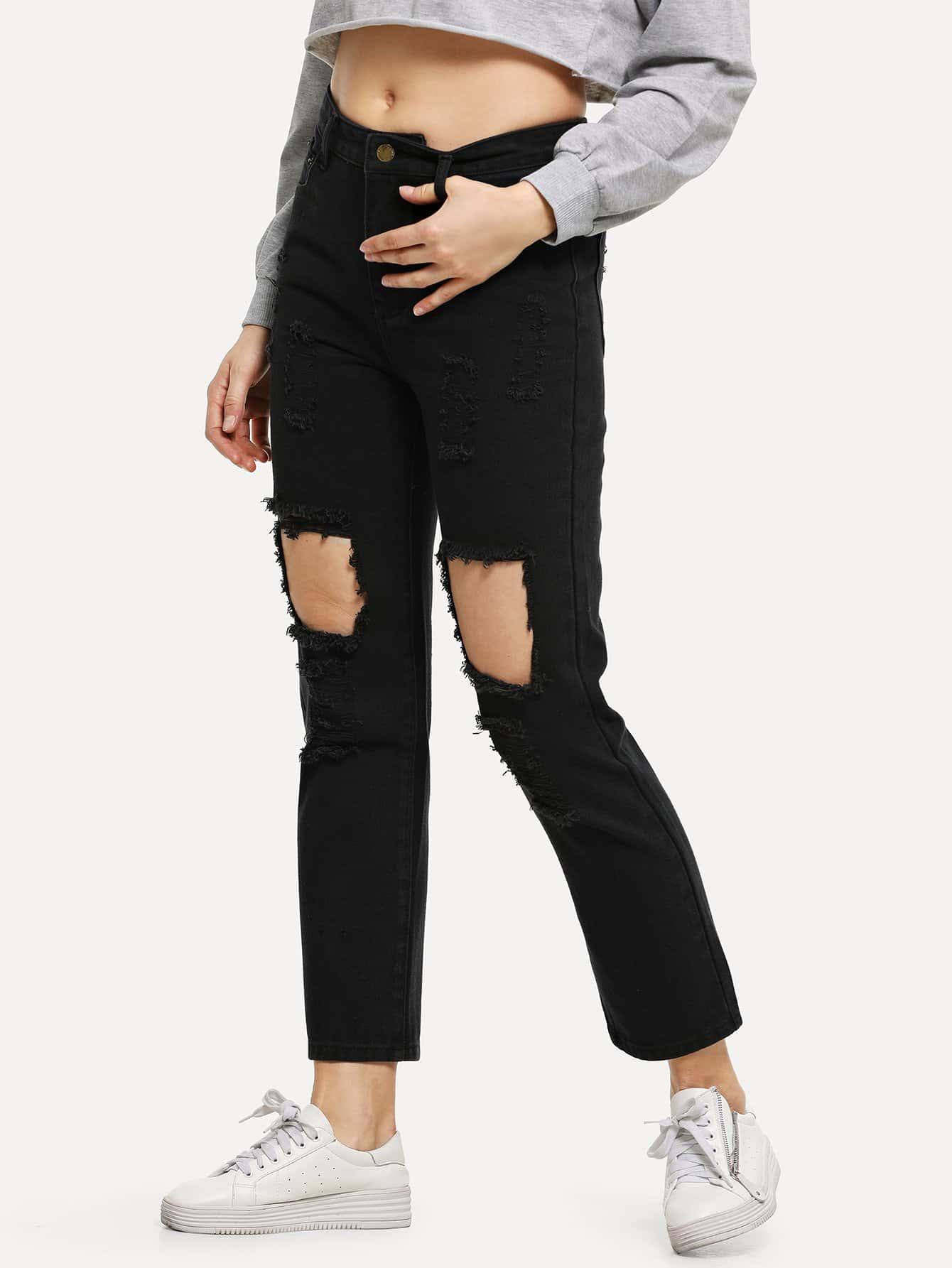 Купить Вырезать рваные джинсы, Masha, SheIn
