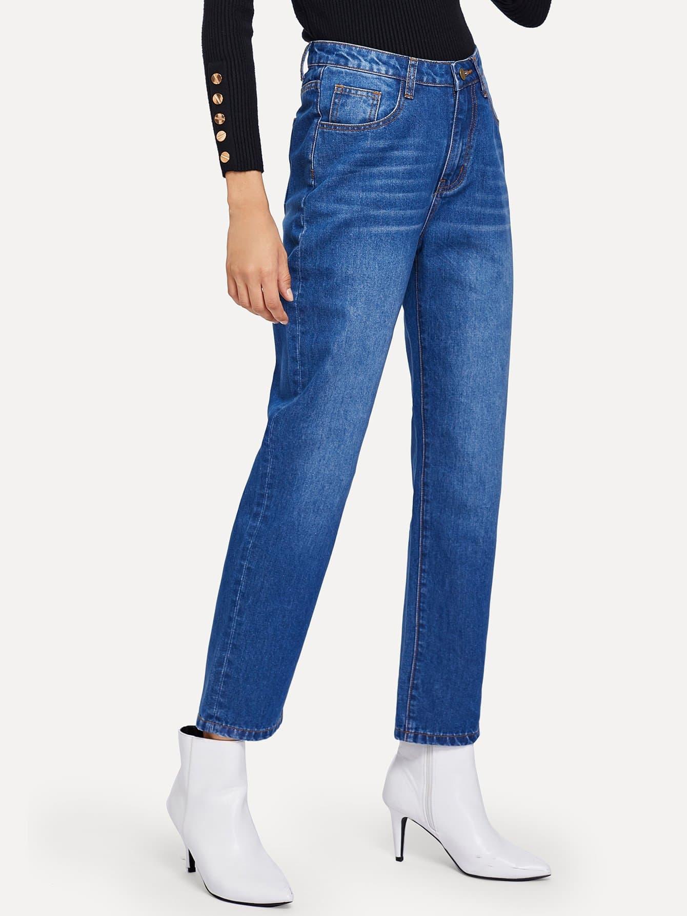 Фото - Прямолинейные джинсы от SheIn синего цвета