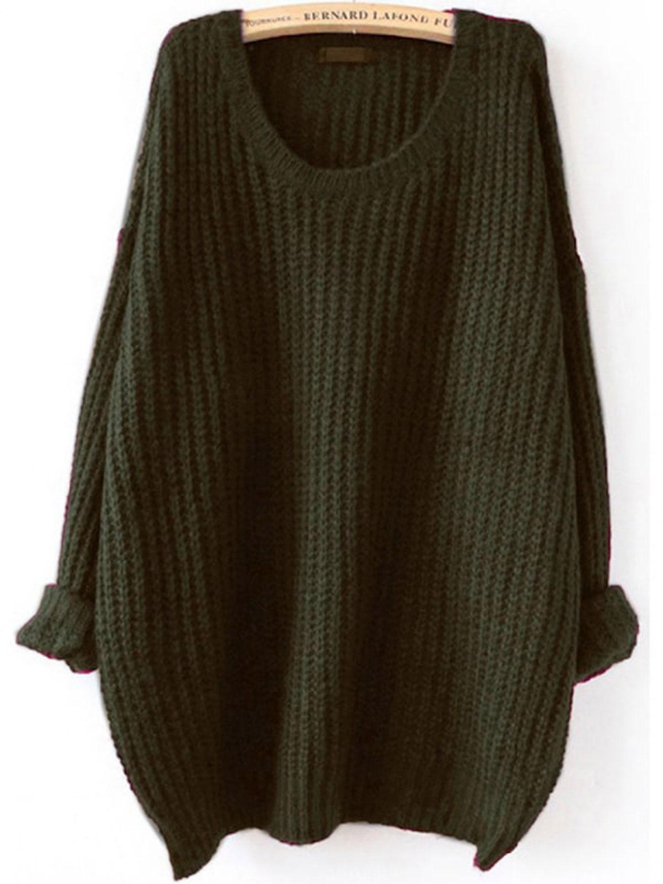 Фото - Плюс размеры одноцветный свитер с заниженной линией плеч от SheIn цвет цвета хаки