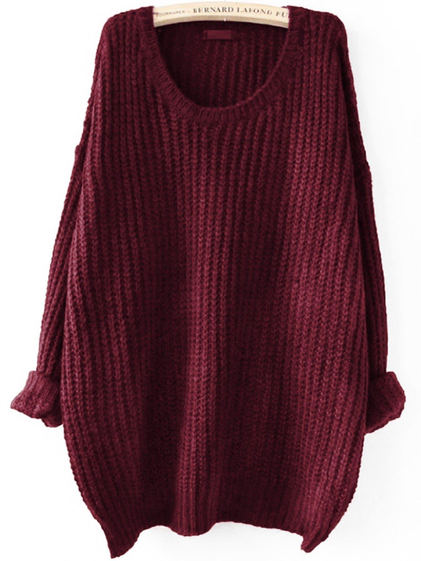 Фото - Плюс размеры одноцветный свитер с заниженной линией плеч от SheIn цвет бургундия