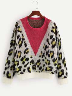 Color-Block Leopard Print Sweater