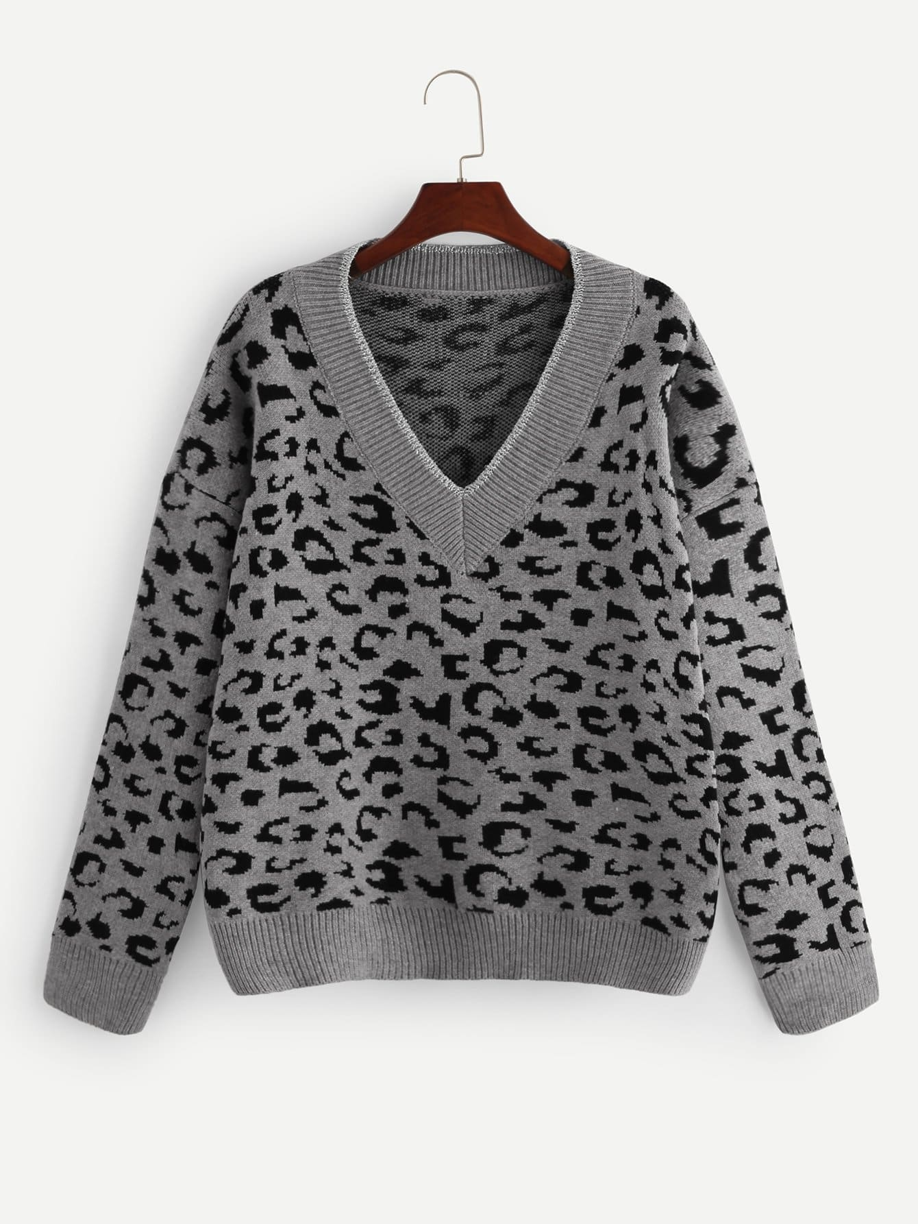 3414295b0145 V Neck Leopard Print Sweater | MakeMeChic.COM