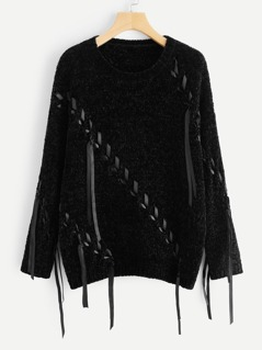 Round Neck Lace-Up Sweater