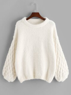 Lantern Sleeve Drop Shoulder Sweater