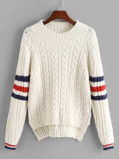 Striped Stepped Hem Sweater