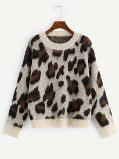 Contrast Trim Leopard Print Sweater