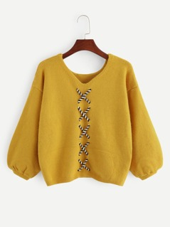 Bishop Sleeve Lace-Up Sweater