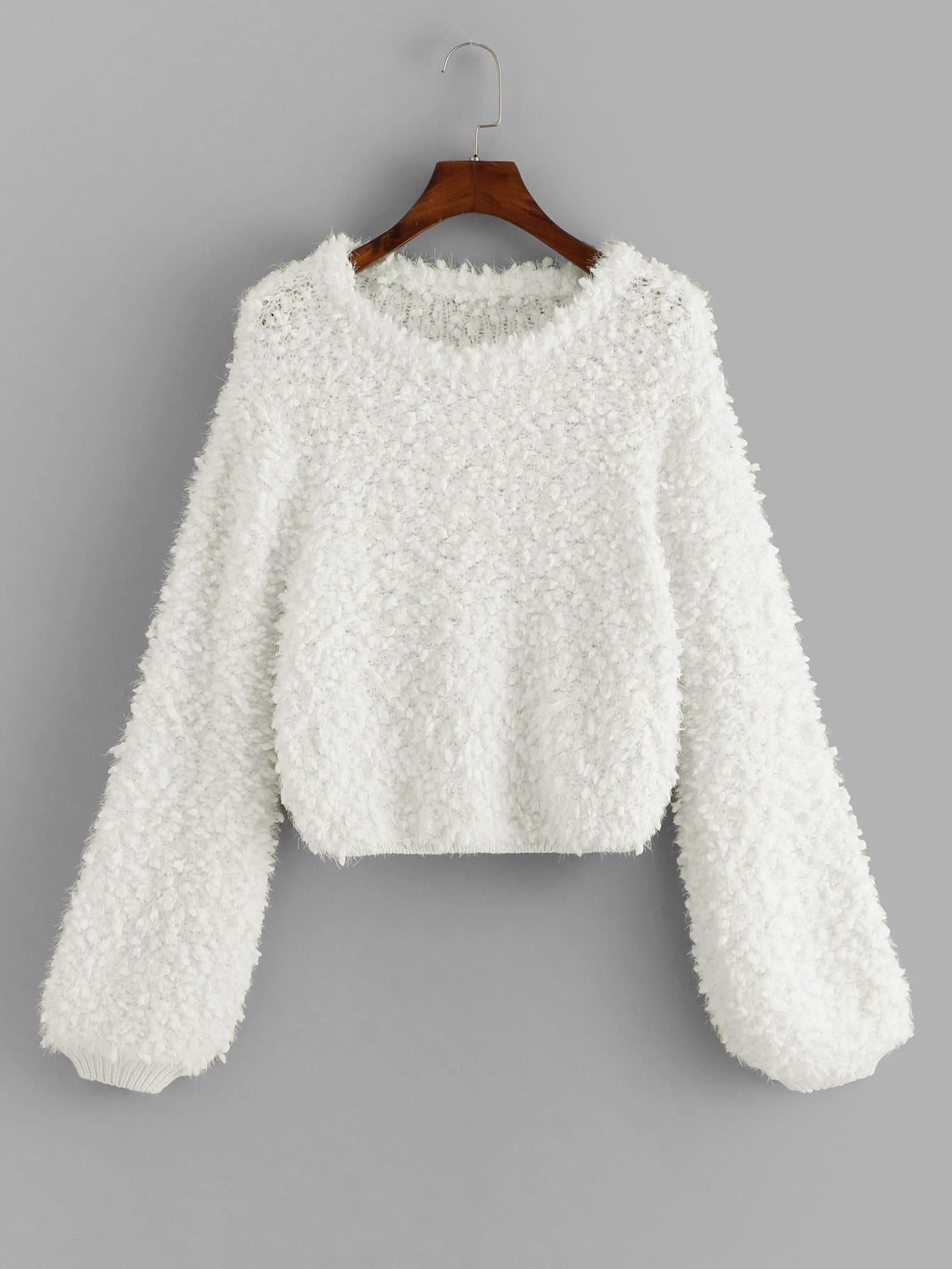 Фото - Одноцветный свитер с фонари рукавом от SheIn белого цвета