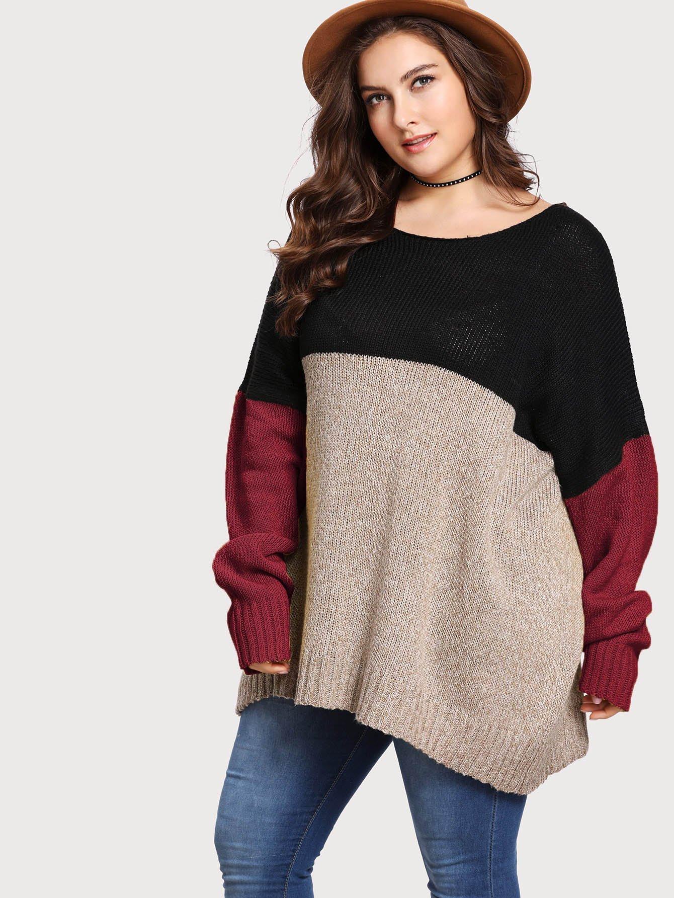 Фото - Плюс размеры кроить и шить негабаритный свитер от SheIn цвет многихцветные