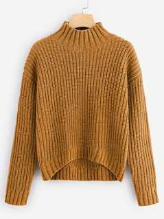 Dip Hem Chunky Knit Sweater
